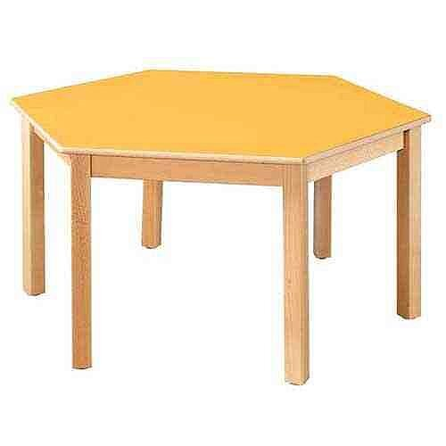 Hexagonal 120cm Diameter Preschool Table Beech Yellow 46cm High TC114604
