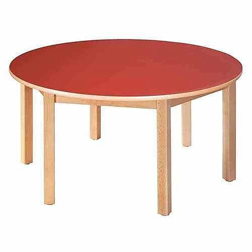 Round Pre-School Table Beech Red 120 Diameter 46cm High TC94602