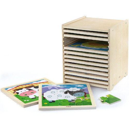Wooden Puzzles - 9-Piece-Puzzle - 12pcs Set - Educational Toy, Creative Fun - Storage Shelf