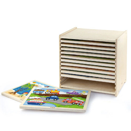 Wooden Puzzles - 16-Piece-Puzzle - 12pcs Set - Educational Toy, Creative Fun - Storage Shelf