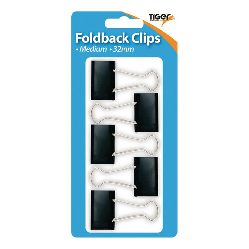 Tiger Medium Fold Back Clips Pack of 60 302005