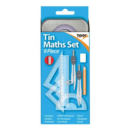 9 Piece Maths Set Tin Pack of 12 301467