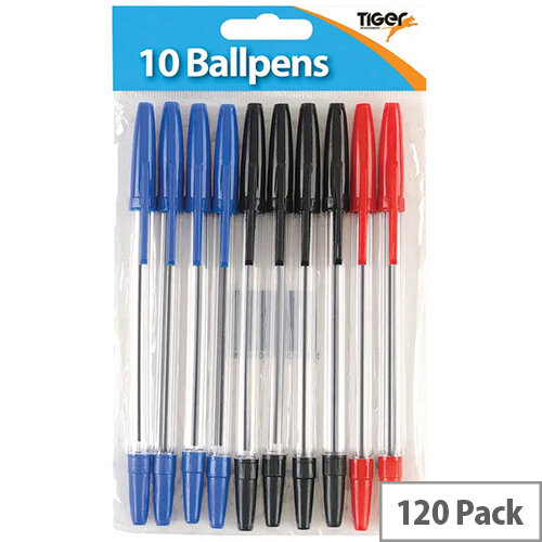 Tiger Ballpoint Pens, Black, Blue and Red Pack of 120 302011
