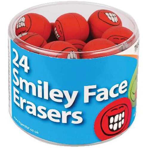 Tiger Assorted Smiley Face Erasers Pack of 24 302199