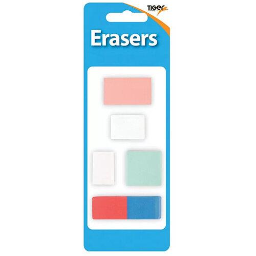 Tiger Assorted Design Erasers Pack of 60 302022