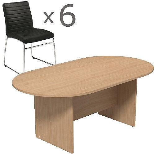 6 Person Boardroom Bundle - 1800mm Beech D-End Table &6 Black Leather Look Chairs