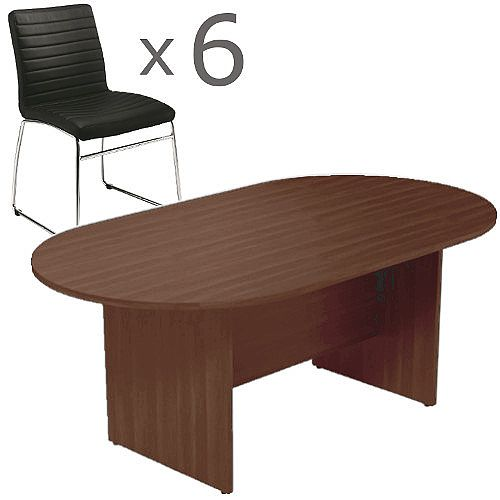 6 Person Boardroom Bundle - 1800mm Dark Walnut D-End Table &6 Black Leather Look Chairs