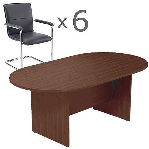 6 Person Boardroom Bundle - 1800mm Dark Walnut D-End Table &6 Black Leather Look Armchairs