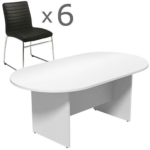 6 Person Boardroom Bundle - 1800mm White D-End Table &6 Black Leather Look Chairs