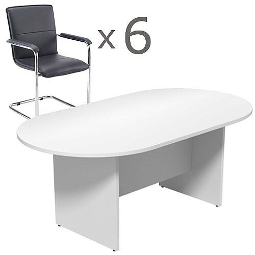6 Person Boardroom Bundle - 1800mm White D-End Table &6 Black Leather Look Armchairs