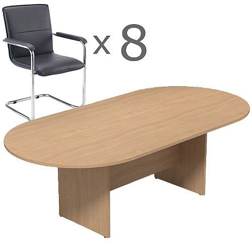 8 Person Boardroom Bundle - 2400mm Beech D-End Table &8 Black Leather Look Armchairs