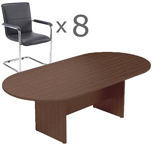8 Person Boardroom Bundle - 2400mm Dark Walnut D-End Table &8 Black Leather Look Armchairs