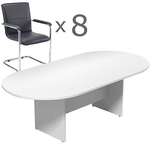 8 Person Boardroom Bundle - 2400mm White D-End Table &8 Black Leather Look Armchairs