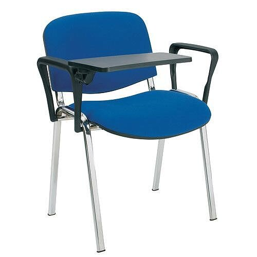o i series stacking chair with writing tablet blue fabric chrome
