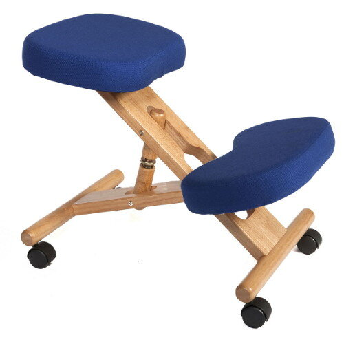 Posture Kneeling Chair With Wood Frame And Polyacrylic Fabric In Blue