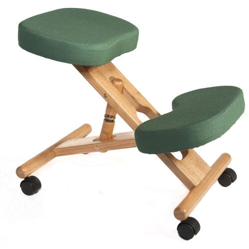 Posture Kneeling Chair With Wood Frame And Polyacrylic Fabric In Green