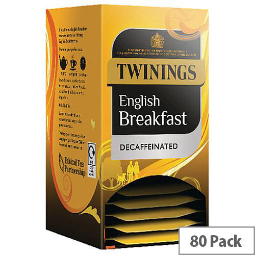 Twinings Decaffeinated English Breakfast Envelope Tea Bags (Pack 20 x4) F12423