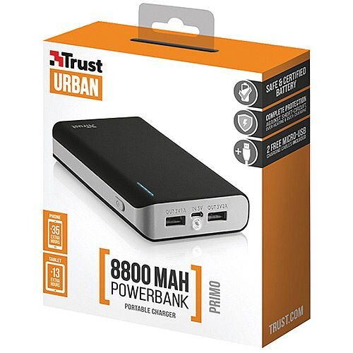 Primo PowerBank 8800 mAh Portable Charger Black 21227 - Charger  compatibility -Mobile phone/smartphone, Tablet, MP3/MP4, GPS, E-book reader  - Battery