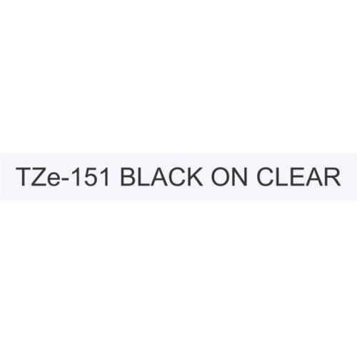 Compatible Brother TZE151 Black on Clear Label Tape 24mm x 8m Pack of 5
