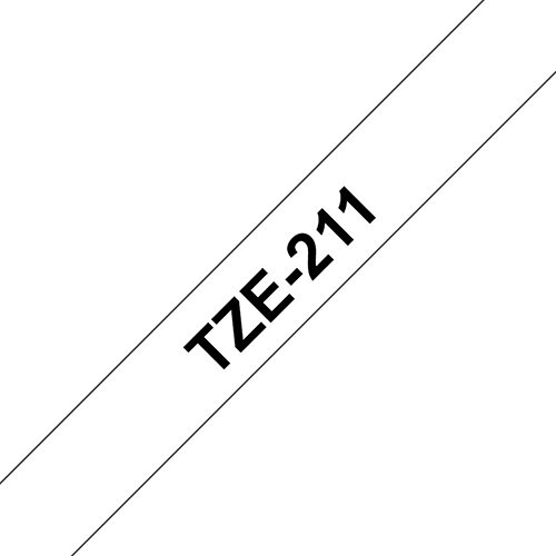 Compatible Brother TZE211 Black on White Label Tape 6mm x 8m Pack of 5