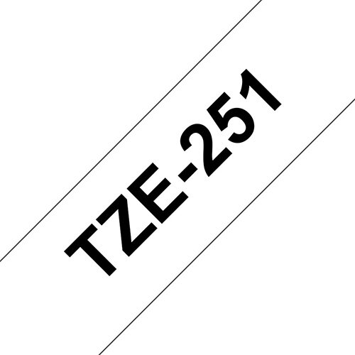 Compatible Brother TZE251 Black on White Label Tape 24mm x 8m Pack of 5