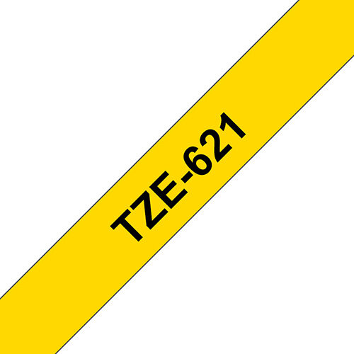 Compatible Brother TZE621 Black on Yellow Label Tape 9mm x 8m Pack of 5