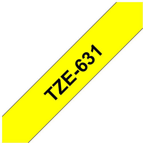 Compatible Brother TZE631 Black on Yellow Label Tape 12mm x 8m Pack of 5