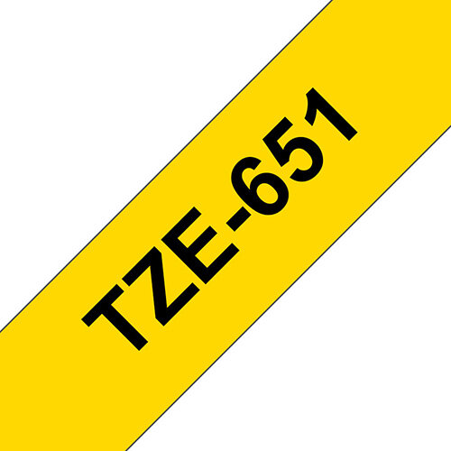 Compatible Brother TZE651 Black on Yellow Label Tape 24mm x 8m Pack of 5
