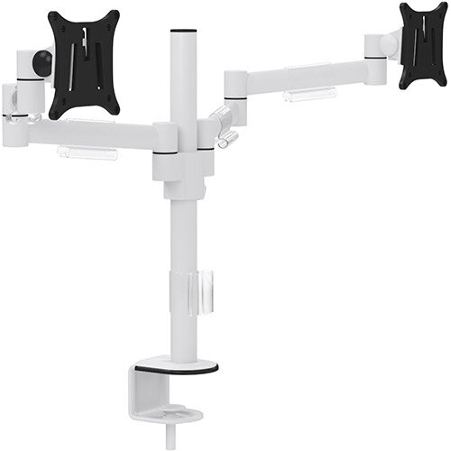 Leap M200 Double Monitor Arm - VESA Compatible, Durable Steel Construction, Ergonomic Streamline Design - Colour: White