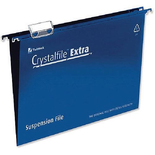 Rexel Crystalfile Extra Suspension File A4 Blue Pack of 25