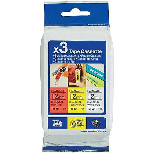 Brother TZe-31M3 Labelling Tape Multipack 1x Black on Red 1x Black on White and 1x Black on Yellow Laminated Tape 12mm x 8m