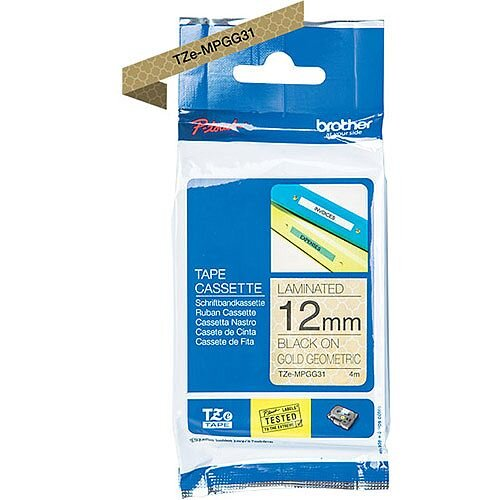 Brother TZe-MPGG31 12mm Black on Gold Geometric Patterned P-touch TZe Laminated Tape Cassette 4 Metres