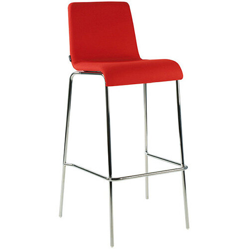 Frovi ZERO Fully Upholstered Canteen Stool With 4 Leg Chrome Base H1050xW530xD470mm 780mm Seat Height - Fabric Band I