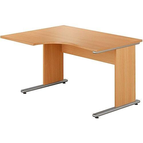 Urban Left Hand Ergonomic Desk Width 1380mm Beech