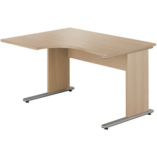 Urban Left Hand Ergonomic Desk Width 1380mm Blonde Oak
