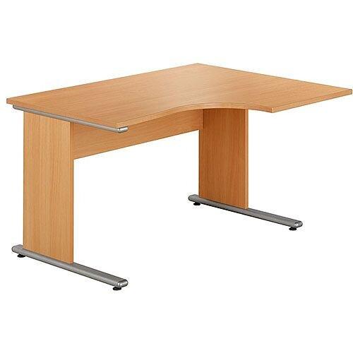 Urban Right Hand Ergonomic Desk Width 1380mm Beech