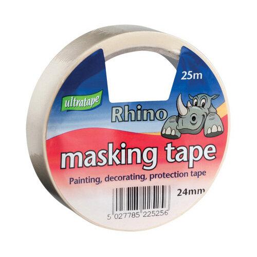 General Purpose Masking Tape 24mmx25m Rhino Label Pack of 9 RT03512425RH1