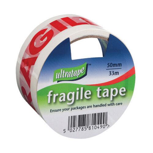 Fragile Tape 50mmx33m 1 Roll Ultra Red/White Pack of 6 FRAG-5033-UL1