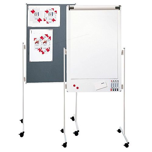 Franken ECO Mobile Combi Flipchart Felt Pin Board 760x1210mm Grey UMT FC