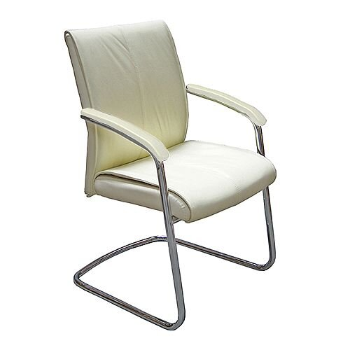 Executive Cantilever Boardroom Chair in Cream Italian Leather Verona
