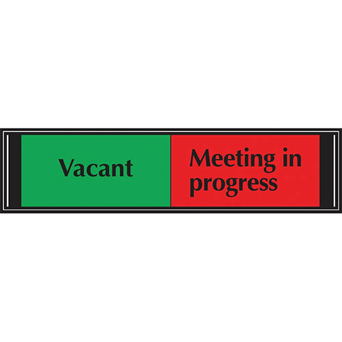 Stewart Superior Sliding Sign Vacant/Meeting In Progress Self Adhesive 225x52mm