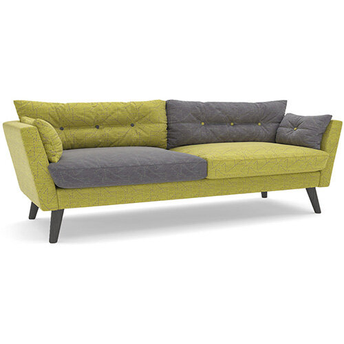 Frovi URBAN 3 Seater Sofa With Black Oak Frame H870xW2130xD835mm 460mm Seat Height - Fabric Band F
