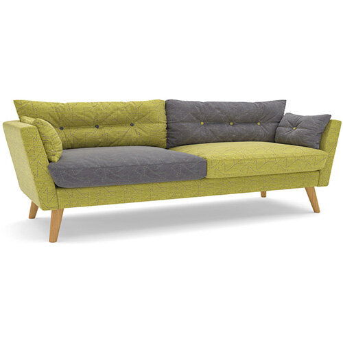 Frovi URBAN 3 Seater Sofa With Natural Oak Frame H870xW2130xD835mm 460mm Seat Height - Fabric Band E