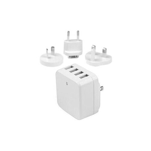 8d725e694bc006 StarTech 4-Port USB Wall Charger International Travel Charger High Power 34  Watt / 6.8 Amp White 5 V DC Output Voltage 6.80 A Output Current USB4PACWH  ...