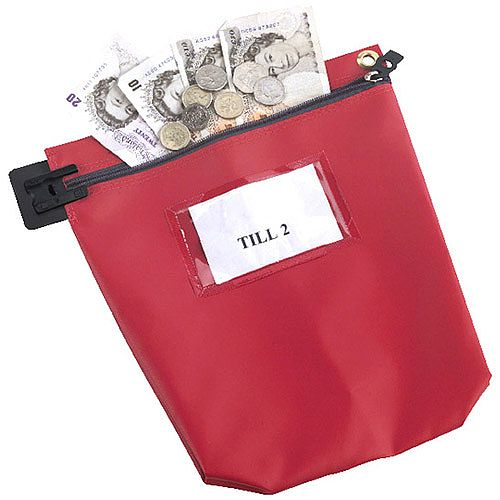 Go Secure Cash Bag with Window Red (Pack of 1) CB1R