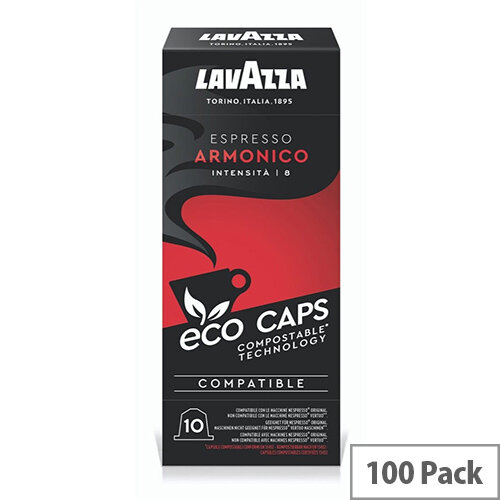 Lavazza Eco Caps Nespresso Coffee Machine Compatible Capsules 100% Compostable Armonico -  Pack of 100