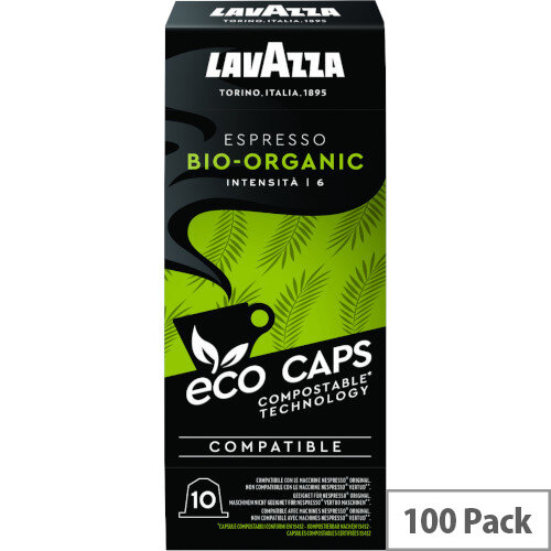 Lavazza Eco Caps Nespresso Coffee Machine Compatible Capsules 100% Compostable Bio -  Pack of 100