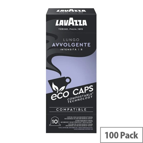 Lavazza Eco Caps Nespresso Coffee Machine Compatible Capsules 100% Compostable Lungo Avvolgente - Pack of 100
