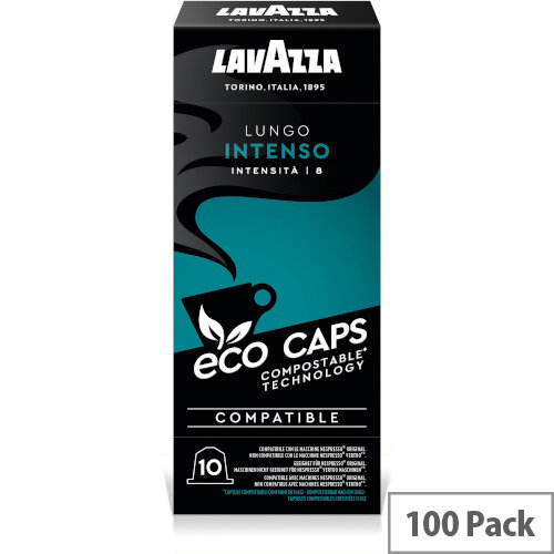 Lavazza Eco Caps Nespresso Coffee Machine Compatible Capsules 100% Compostable Intenso -  Pack of 100