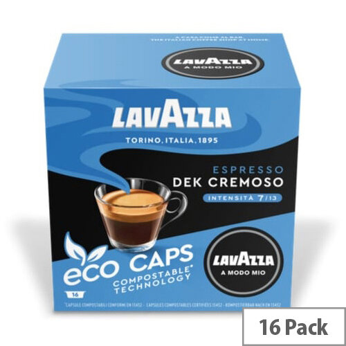Lavazza Modo Mio  DEK CREMOSO COMPOSTABLE Eco Coffee Capsules Pack of 16 Pods (Min. Order Qty - 2)